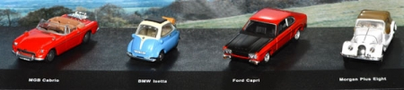 MGB Cabrio - BMW Isetta - Ford Capri - Morgan Plus Eight