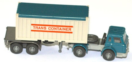 International Harvester open-top Containersattelzug Trans Container azurblau