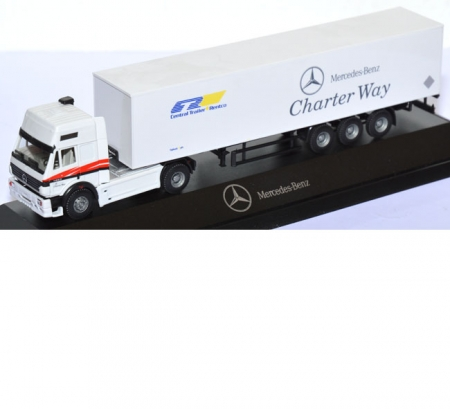 Mercedes-Benz SK 1853 Koffersattelzug Central Trailer Rentco MB Charter Way weiß