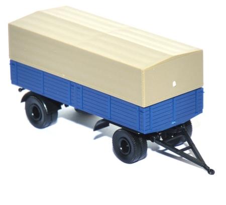 shop f r gebrauchte modellautos pritschen lkw anh nger 2achsig mit plane thw blau. Black Bedroom Furniture Sets. Home Design Ideas
