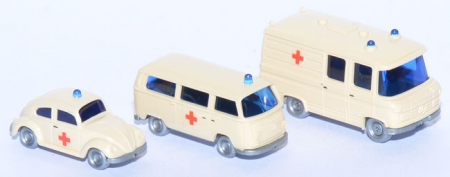 Set DRK VW Käfer 1300, VW T2 Bus, MB L406 Kasten