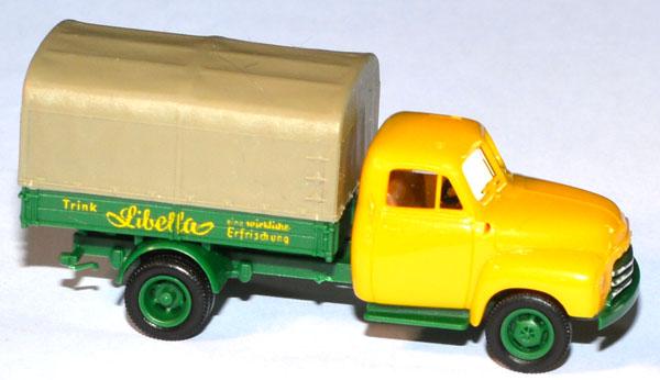 shop f r gebrauchte modellautos opel blitz 1952 pritschen lkw mit plane libella gelb. Black Bedroom Furniture Sets. Home Design Ideas