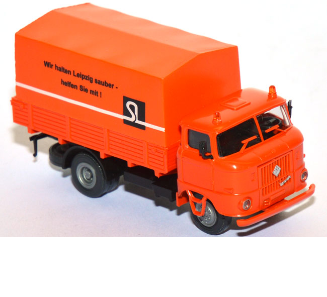 shop f r gebrauchte modellautos ifa w50 l lkw pritsche stadtreinigung leipzig orange. Black Bedroom Furniture Sets. Home Design Ideas